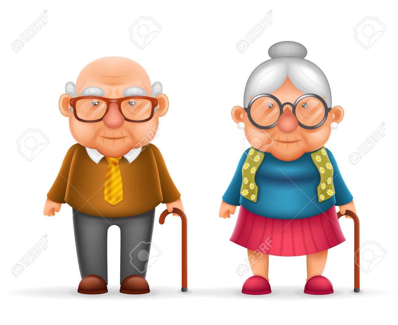 Happy Cute Old Man Lady Grandfather Granny Realistic Cartoon     Happy Cute Old Man Lady Grandfather Granny Realistic Cartoon Family  Character Design Isolated Vector Illustration Stock