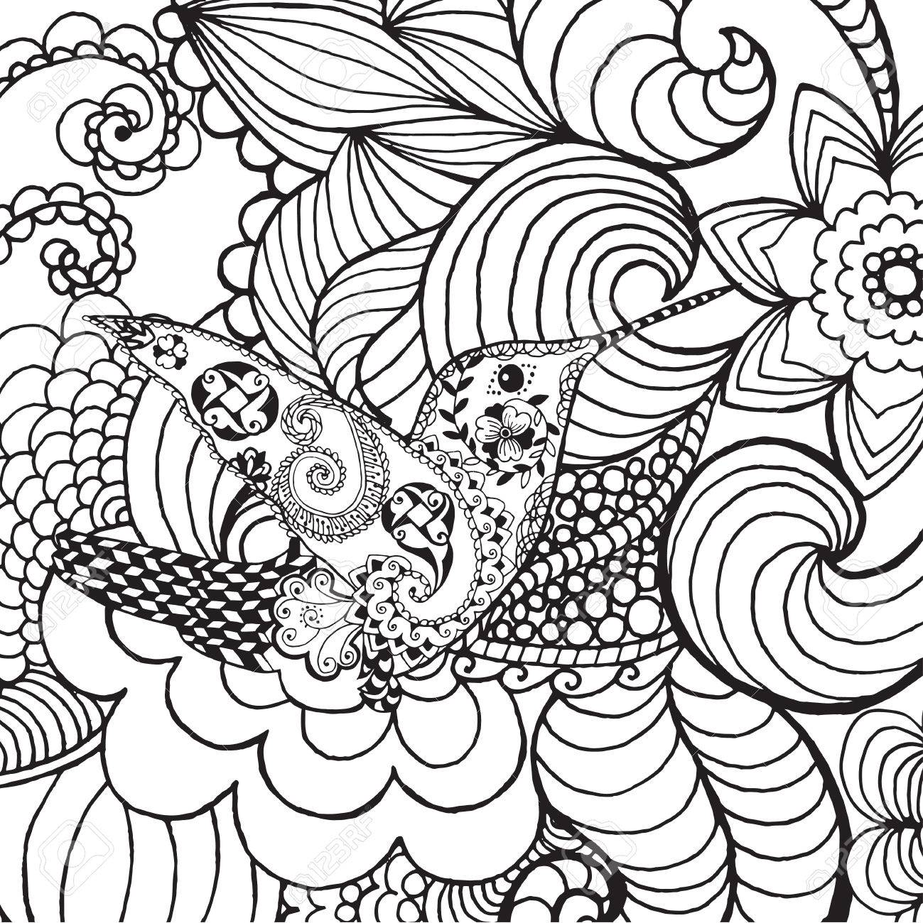 Interesting 57055401 Hummingbird Fantasy Garden Animals Hand Drawn Doodle Ethnic Patterned Illustration African Indian Fantasy Garden Design garden Fantasy Garden Designs