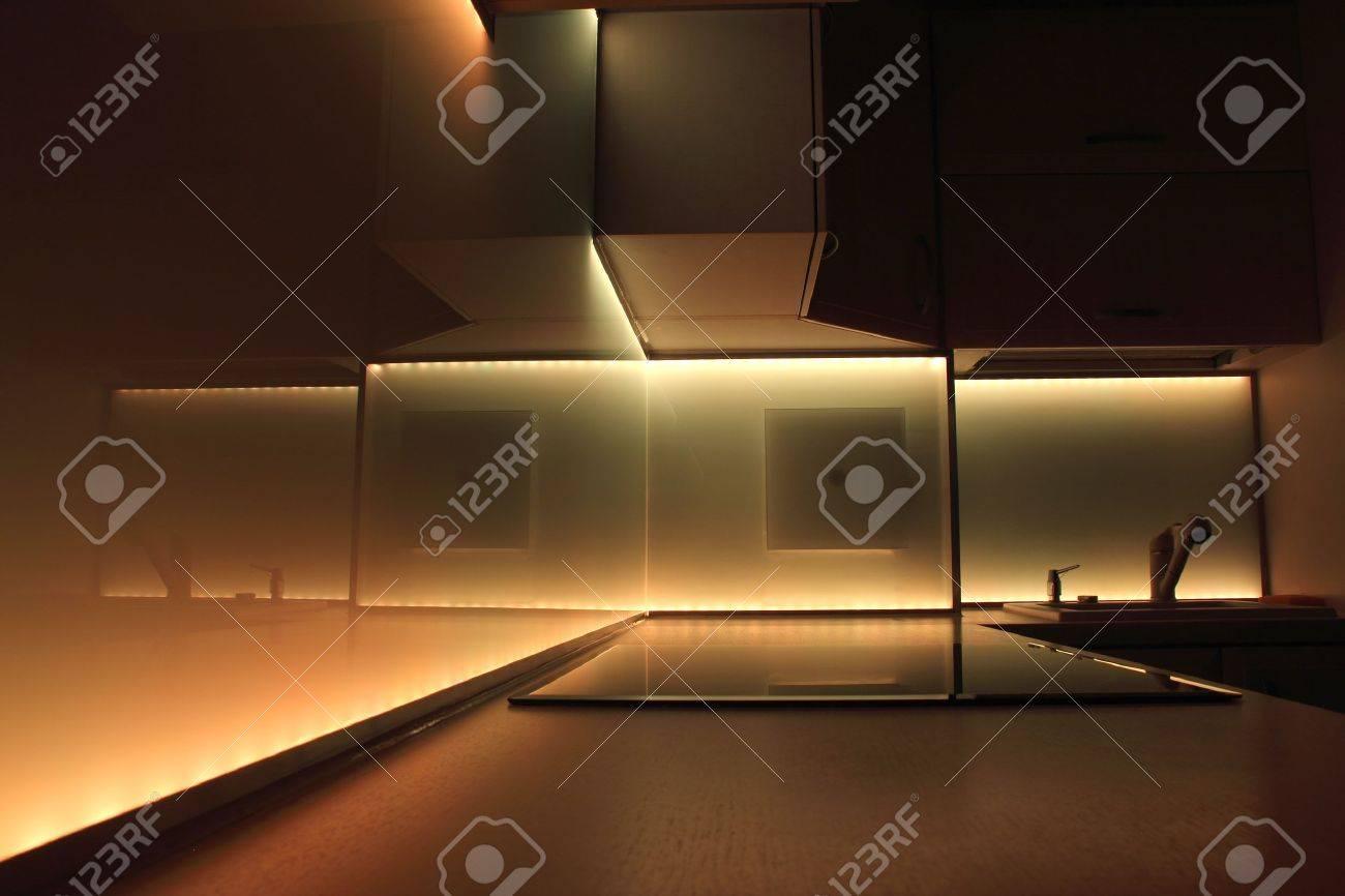 photo modern luxury kitchen with yellow led lighting led kitchen light modern luxury kitchen with yellow led lighting