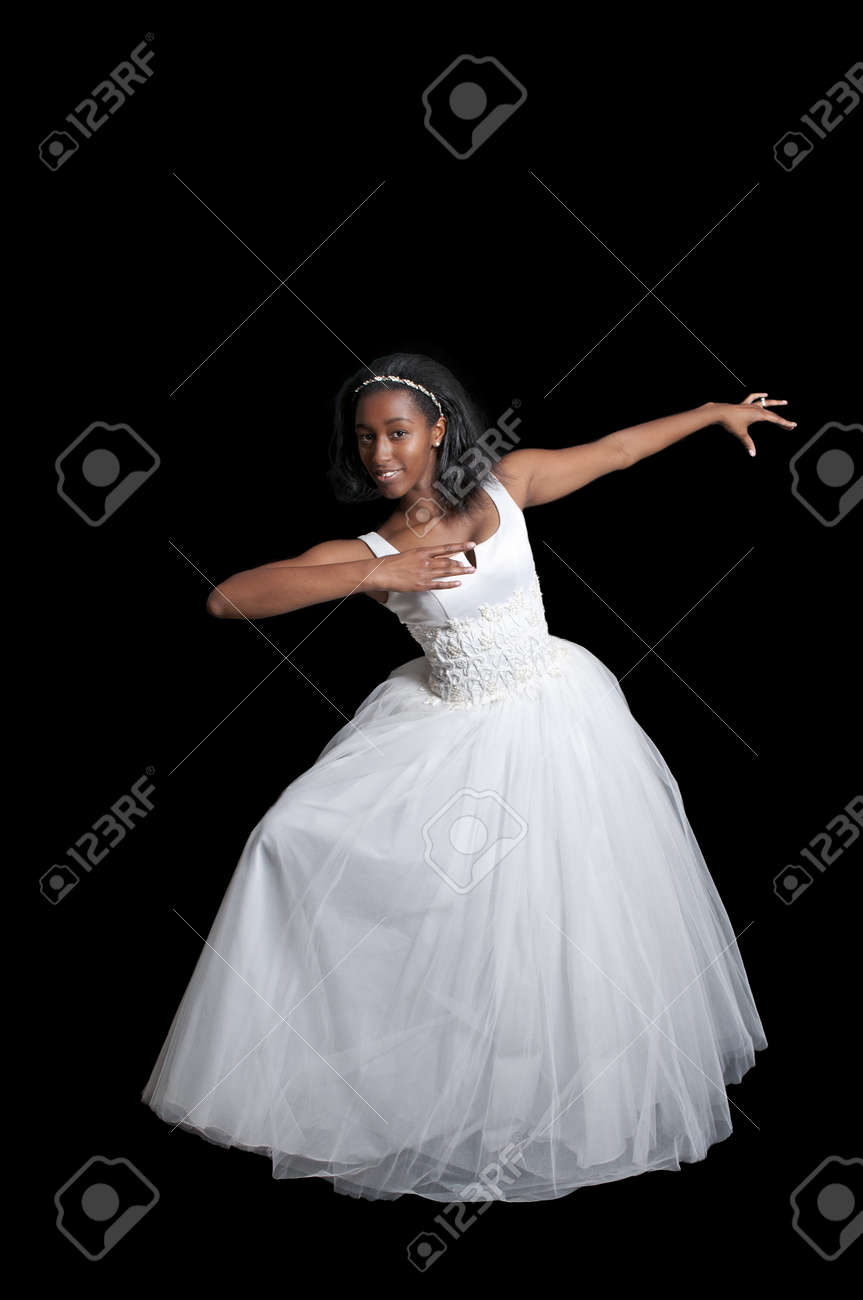 african american wedding dresses African American bride with hair down wedding hairstyle