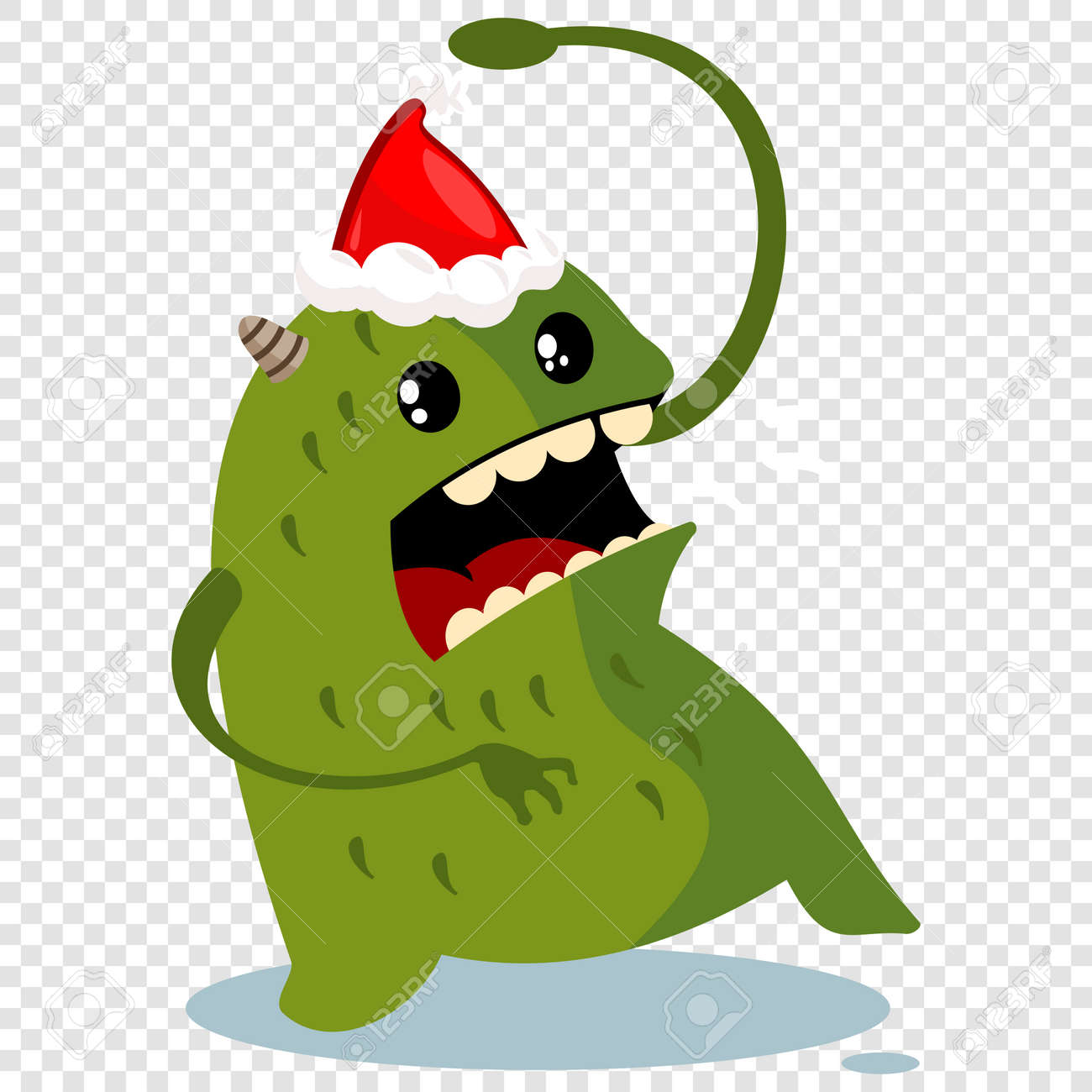 Arresting Santa Vector Character Isolated Santa Hat Outline Transparent Blue Santa Hat Transparent Santa Vector Character Isolated On Atransparent Stock Cartoon Monster Cartoon Monster nice food Santa Hat Transparent