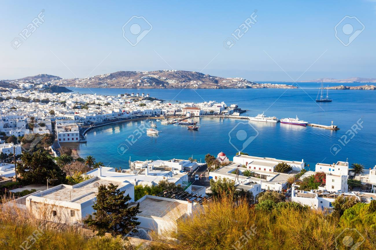 Mykonos Island Aerial Panoramic View  Mykonos Is A Island  Part     Mykonos island aerial panoramic view  Mykonos is a island  part of the  Cyclades in