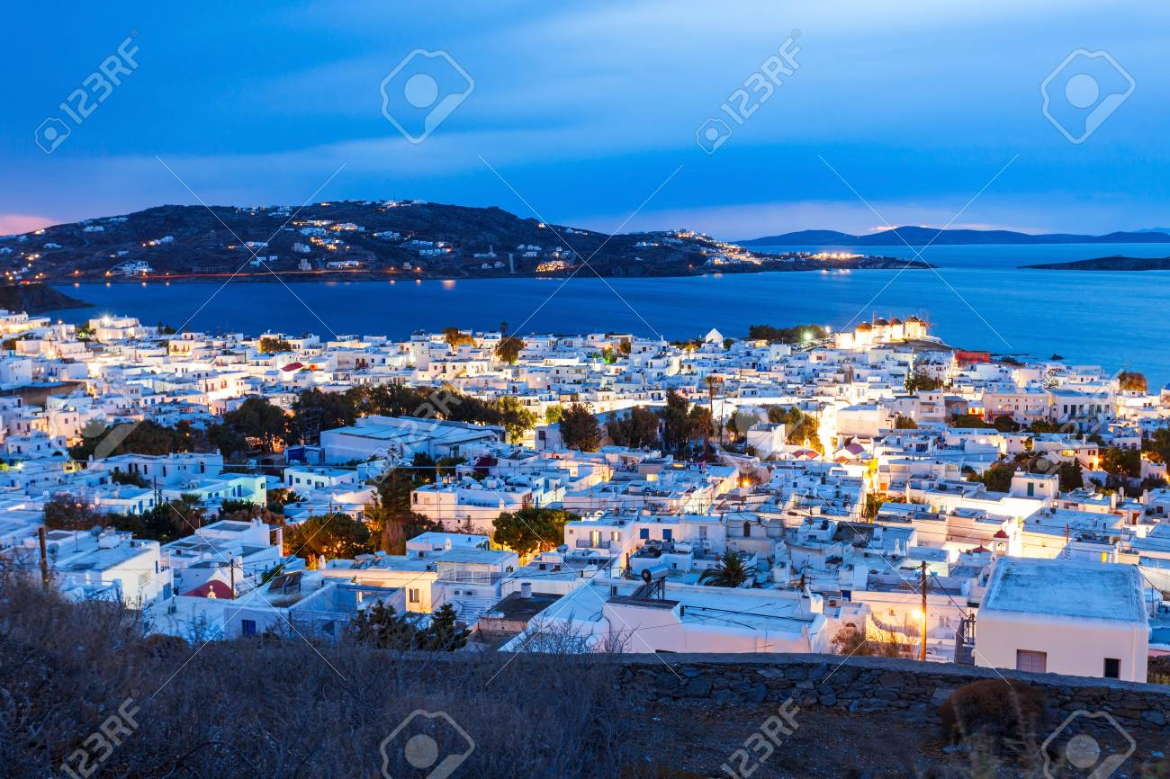 Mykonos Island Aerial Panoramic View At Night  Mykonos Is A Island     Mykonos island aerial panoramic view at night  Mykonos is a island  part of  the