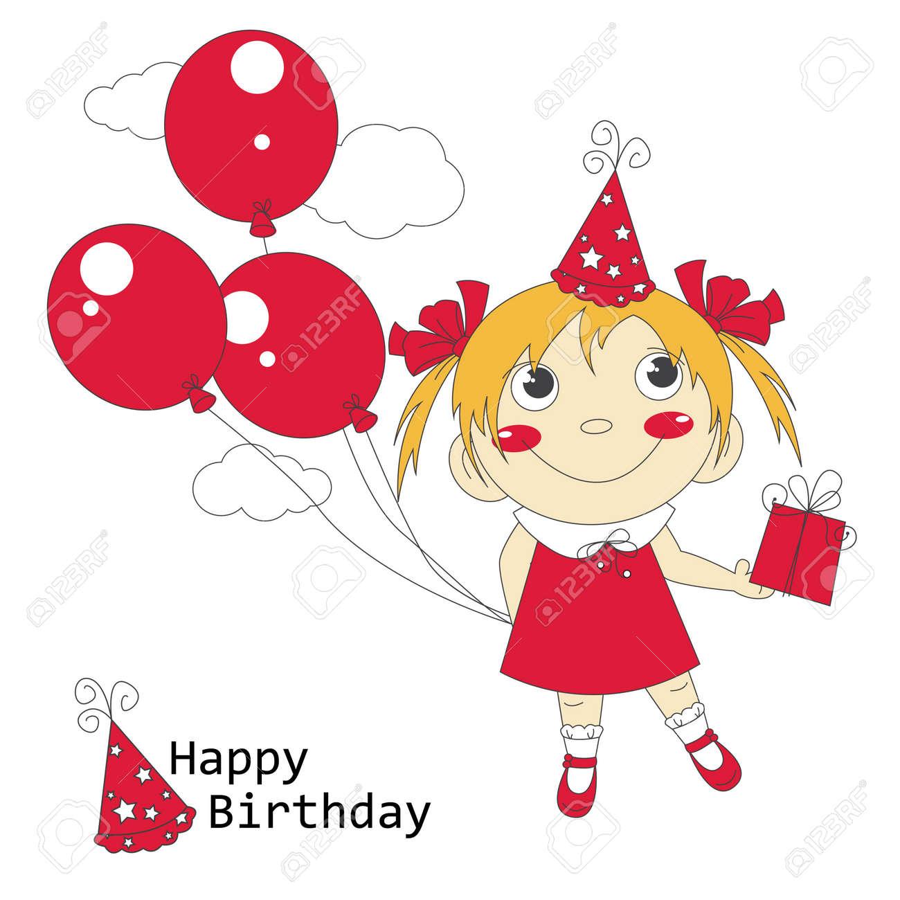 Gray Air Balloons Giftstock Vector Happy Birthday Illustration Little Girl Little Girl Happy Birthday Illustration Air Balloons gifts Happy Birthday Girls