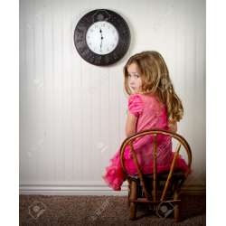 Witching Little Girl Trouble Clock On Wall Stock Little Girl Clock Stock Looking At Clock At Same Time Cat Looking At Clock Time Out Or Time Out Or Trouble