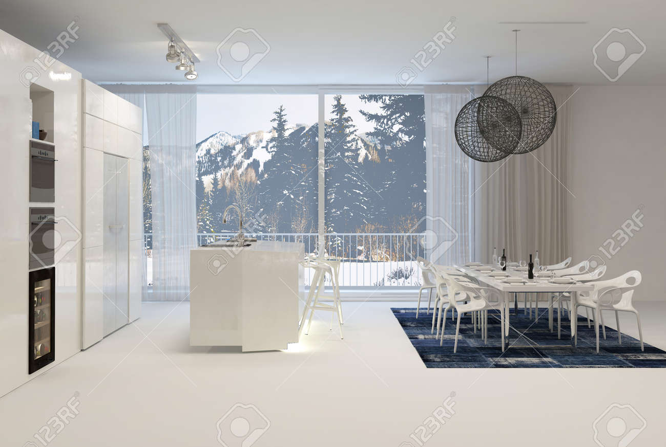 38437474 Modern White Kitchen with Eat In Dining Table and Large Windows with View of Snowy Mountains Stock Photo