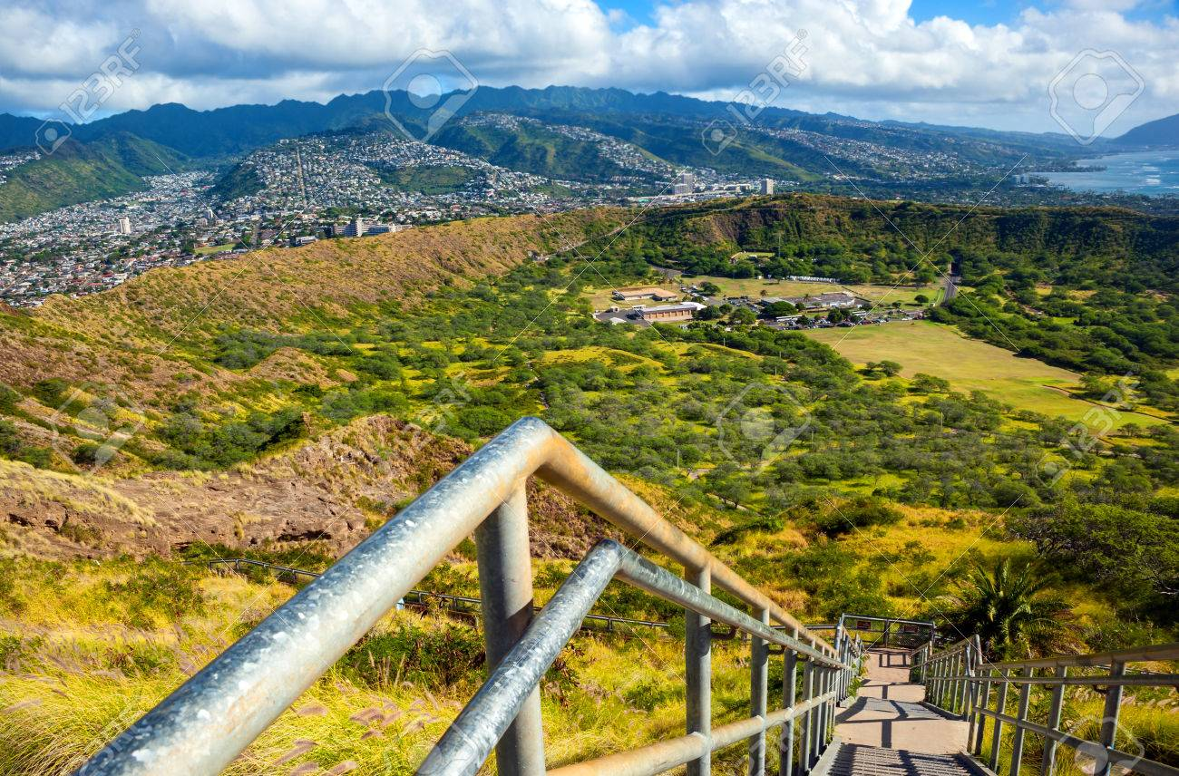 View Of The Diamond Head Crater  Oahu Island  Hawaii Stock Photo     Stock Photo   View of the Diamond Head crater  Oahu island  Hawaii