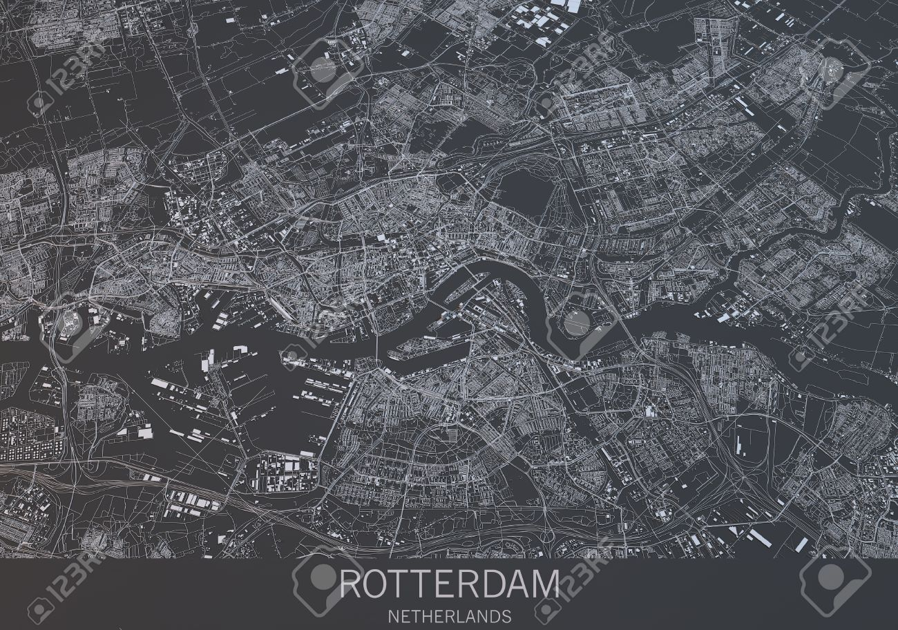 Rotterdam Map  Satellite View  City  Netherlands Stock Photo     Rotterdam map  satellite view  city  Netherlands Stock Photo   63071169