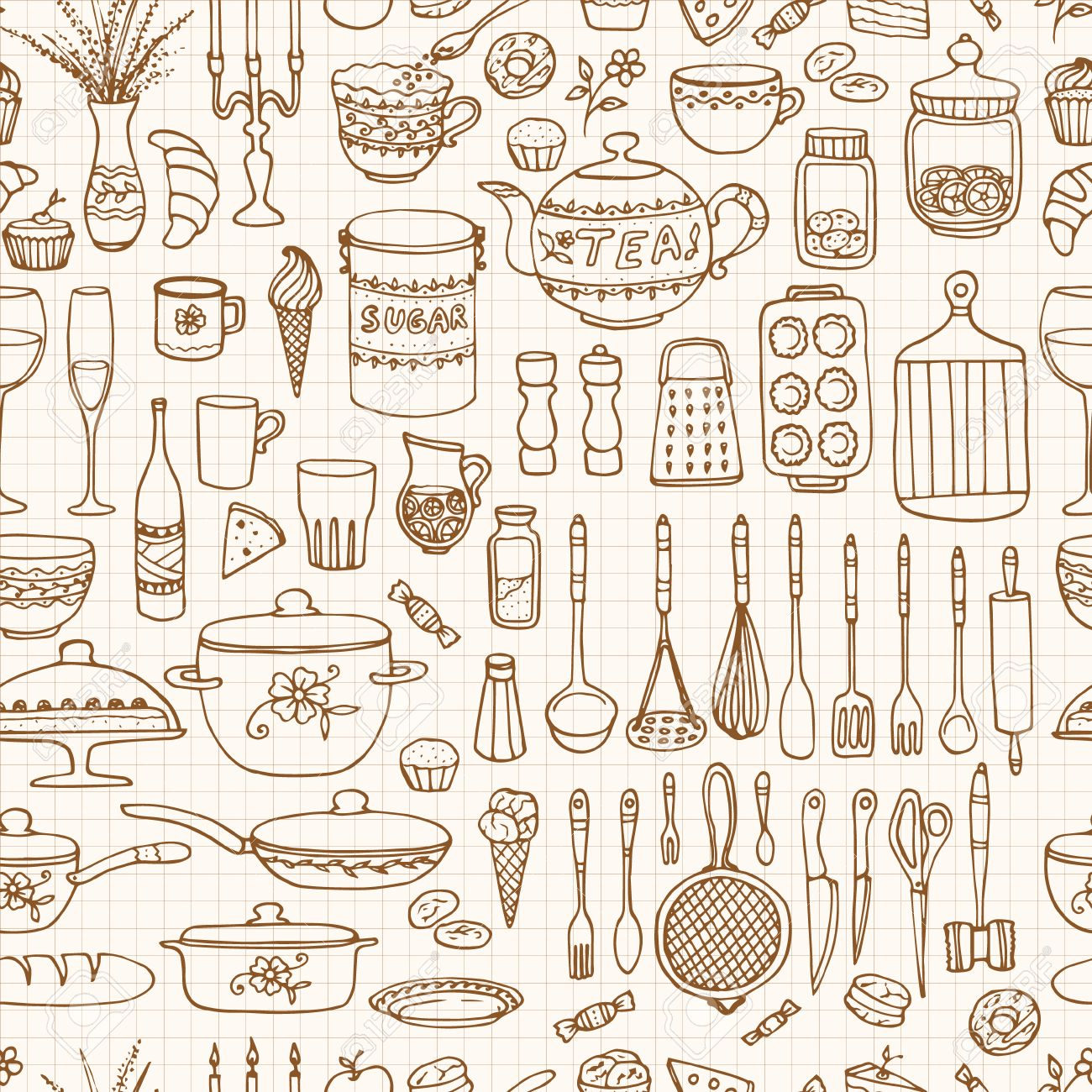 Unique Kitchen Wallpaper Texture Seamless Pattern With Hand Drawn To Decor