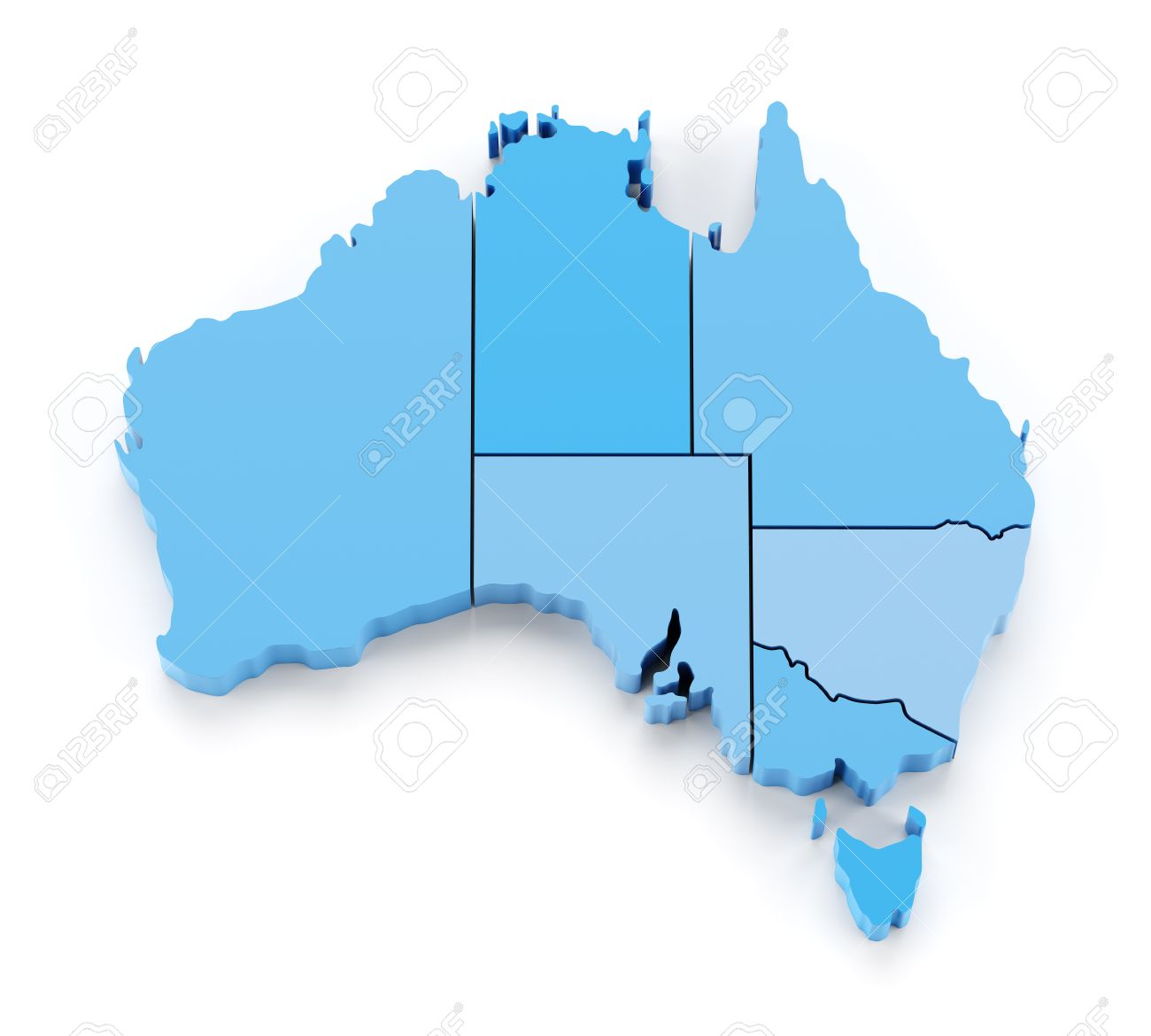 Extruded Map Of Australia With State Borders  3d Render Stock Photo     Extruded map of Australia with state borders  3d render Stock Photo    46718982