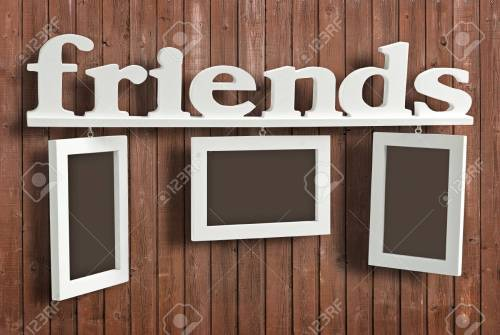 Double Text Friends On Wooden Hanging Three Frames Text Friends On Wooden Photo Frame Consists Stock Photo Wooden Photo Frame Word Wooden Photo Frame