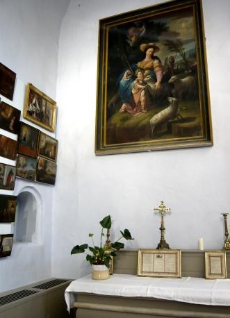 Autel pour la liturgie tridentine, avec tableau de la Divine Bergère