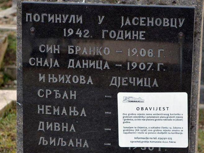 U Pakracu upozorenja na srpskim grobovima