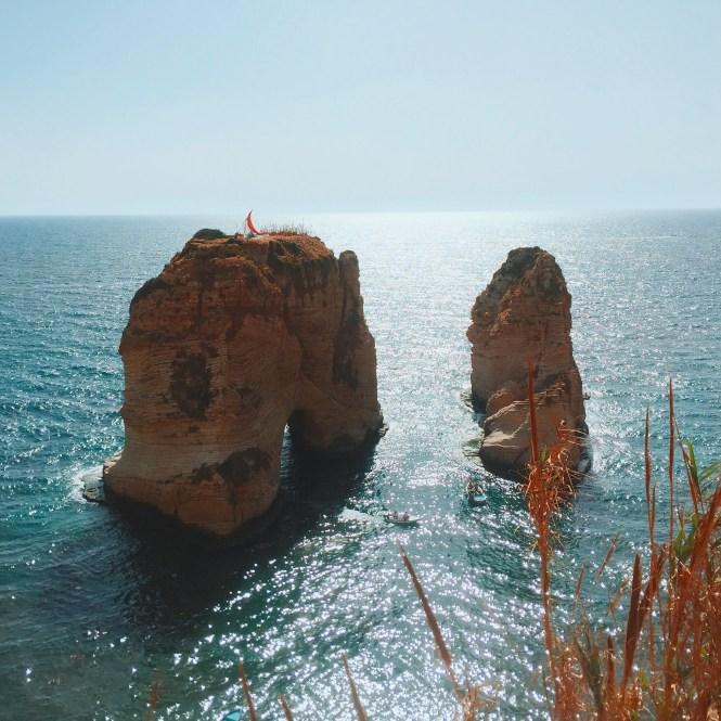 Pigeon Rock, em Beirute, no Líbano