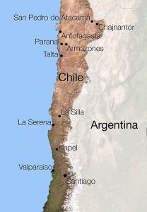 El Norte de Chile y la ubicación de algunos de los principales observatorios Astronómicos. Imagen vía ESO