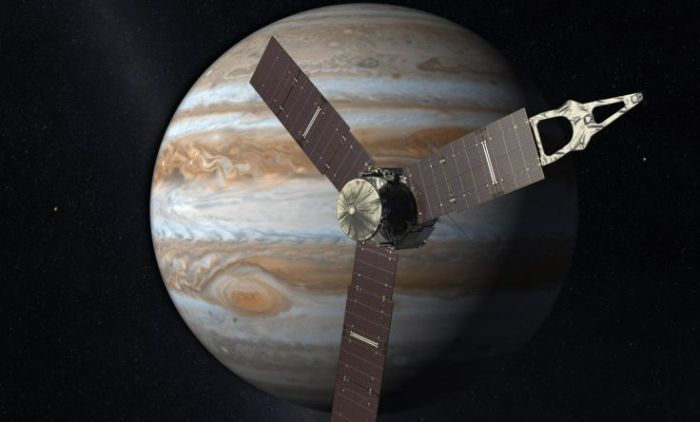 Representación artística de Juno acercándose a Júpiter. Imagen: NASA/JPL-Caltech