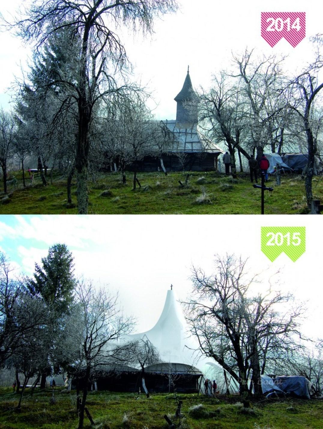 Biserica din Crivina de Sus (2014 vs. 2015)/ Sursă foto: www.cimitiredinbant.ro