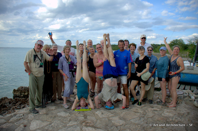 Time for a group photo at the Bay of Pigs