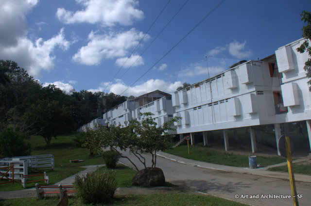 The backs of the apartment buildings of Las Terrazas, the little pop outs are closets.