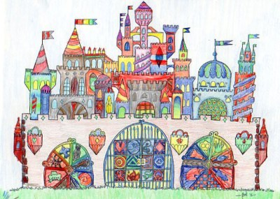 Colored version of the Free printable whimsical castle coloring page