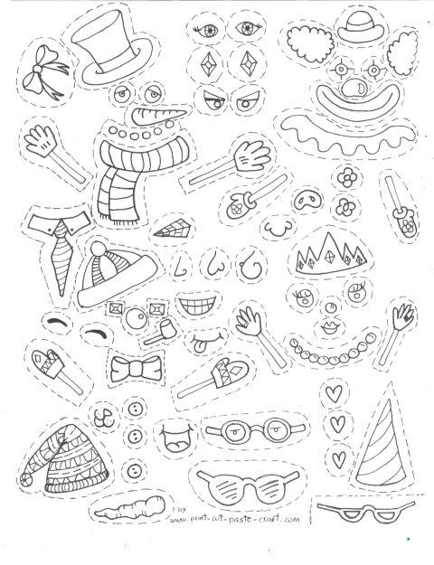 Free Printable Kids Activity: Build a Snowman Page 2 - Snowman Parts. by Print-cut-paste-craft.com not for commercial reuse.