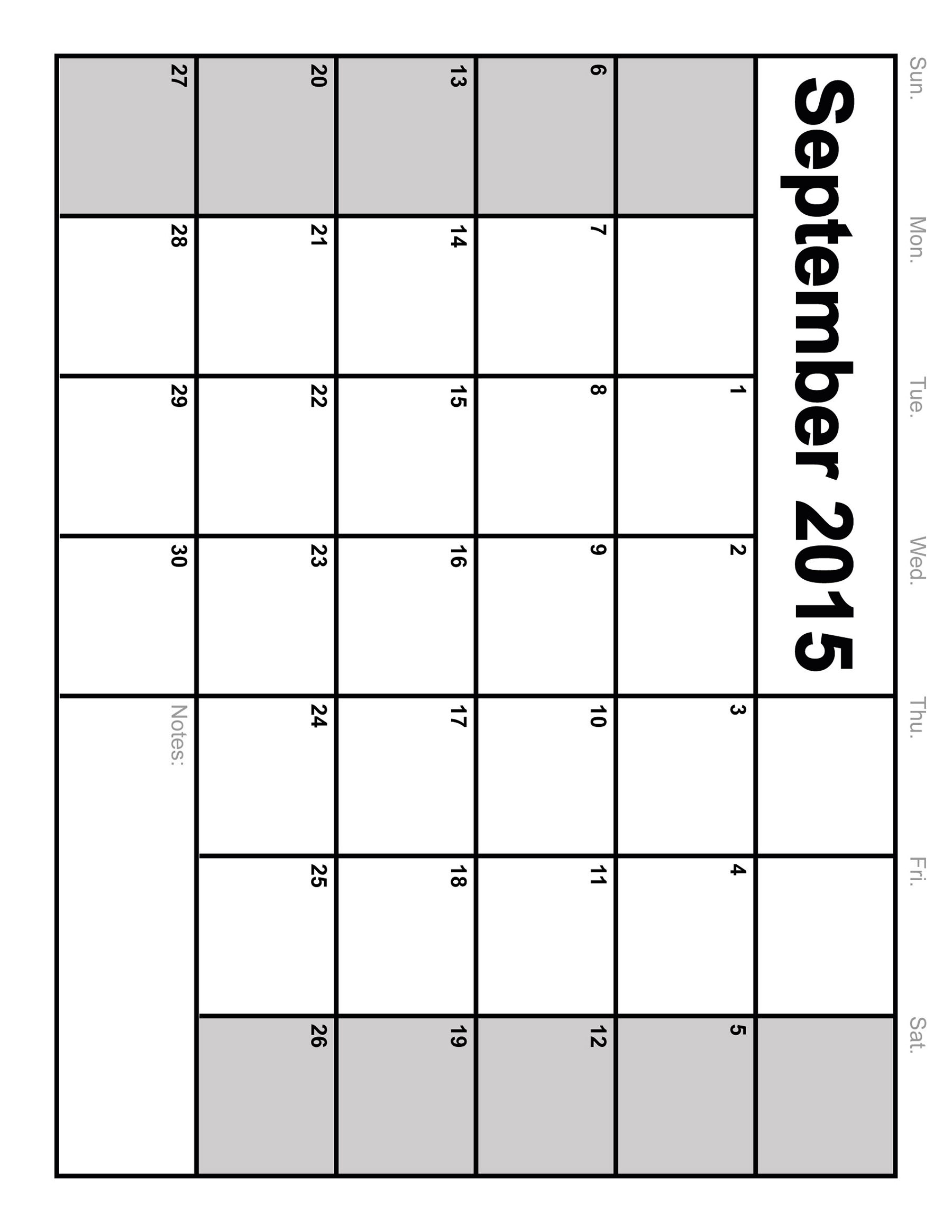 september 2015 blank printable calendar portrait