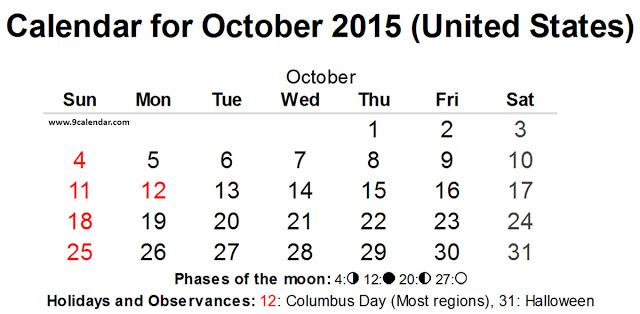 October 2015 Calendar with Holidays USA