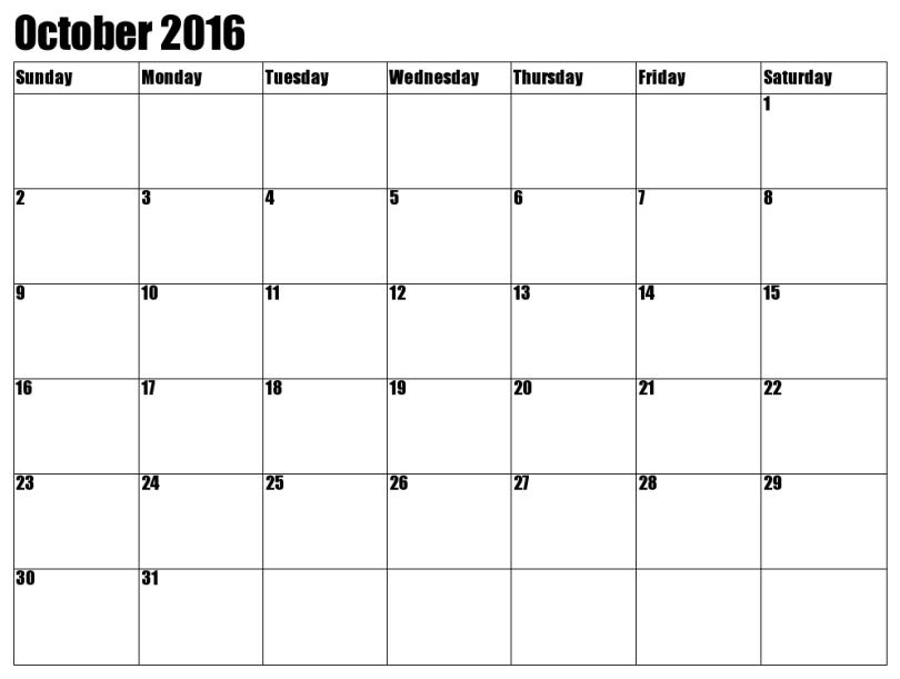 October calendar printable 2016