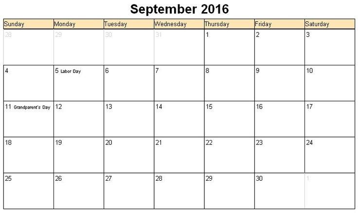 Printable calendar for September 2016