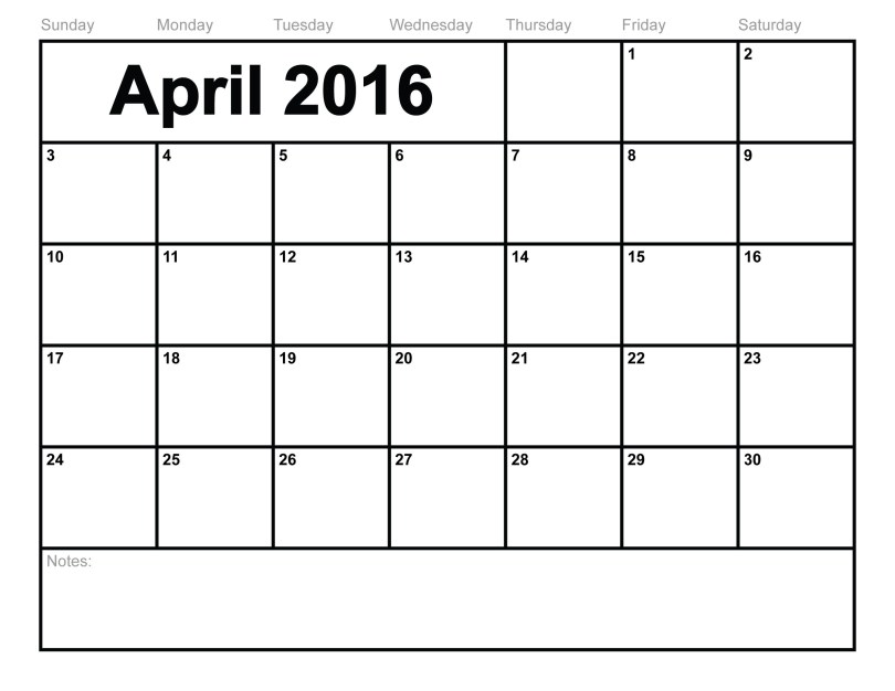 Free April 2016 Printable calendar
