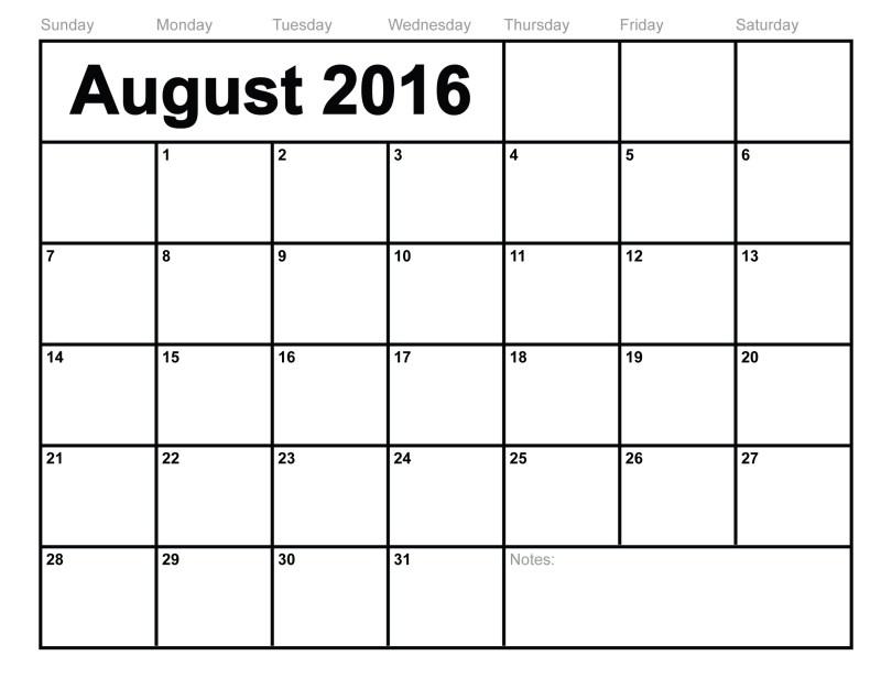 Free August 2016 Printable calendar