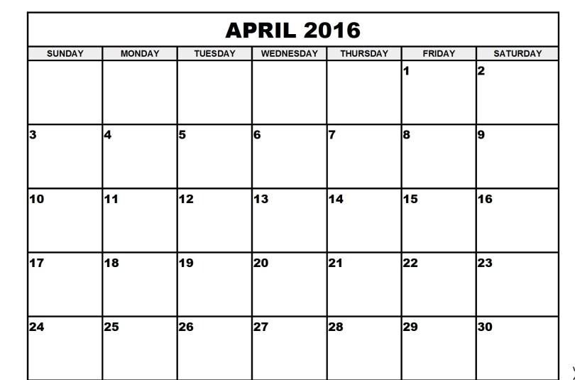 April 2016 Printable calendar PDF