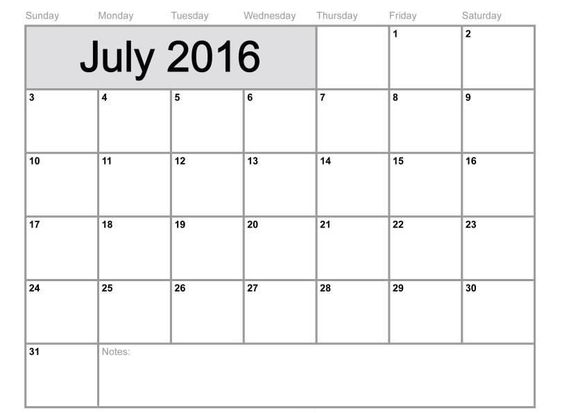 July2016 calendar Printable