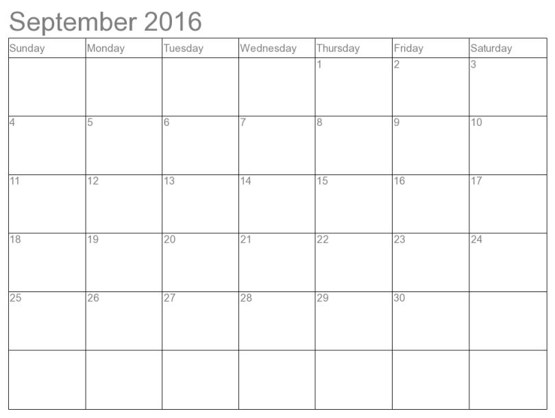 September 2016 Blank Calendar