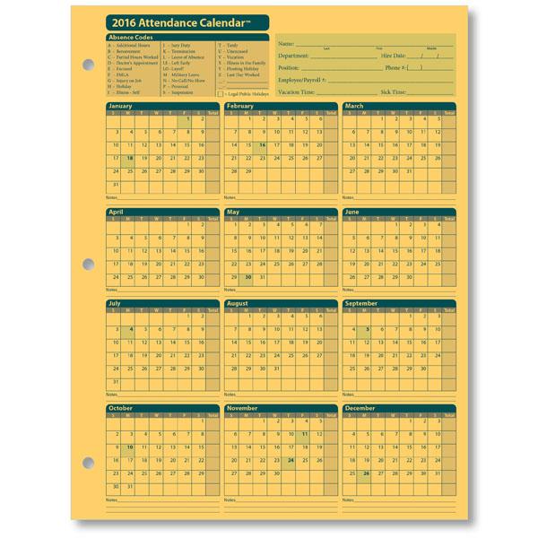absentee calendar 2018