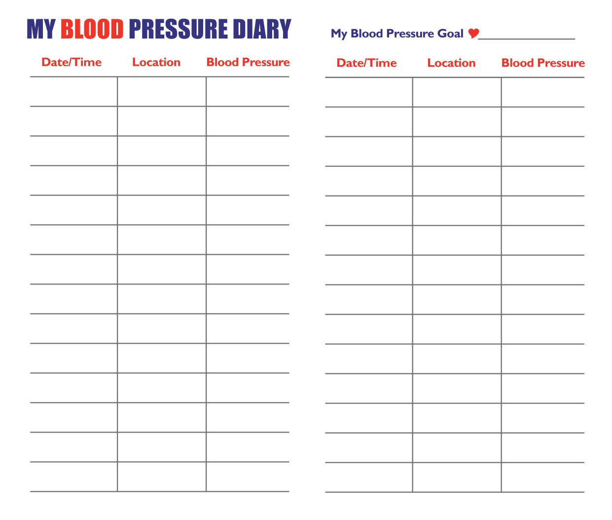 Blood Pressure Chart High Blood Pressure Chart Printable