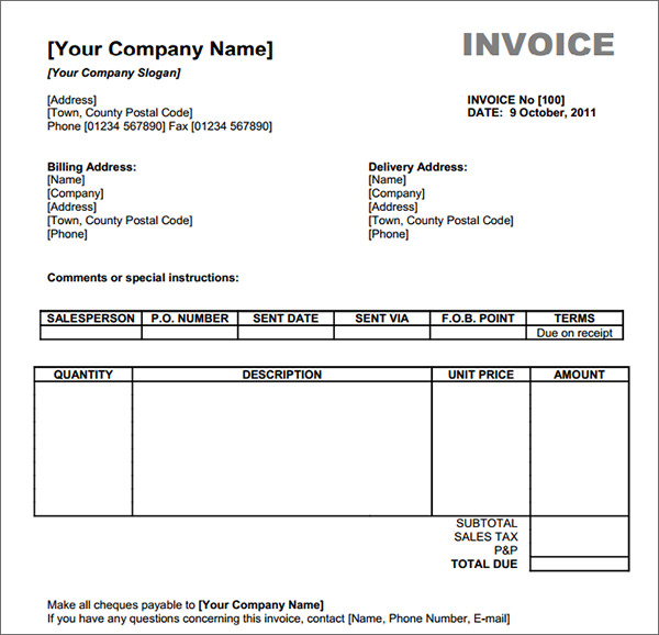 Free Invoice Template Sample Invoice Format Printable Calendar - Free invoice templates to fill in and print