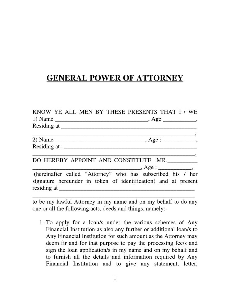 power of attorney form