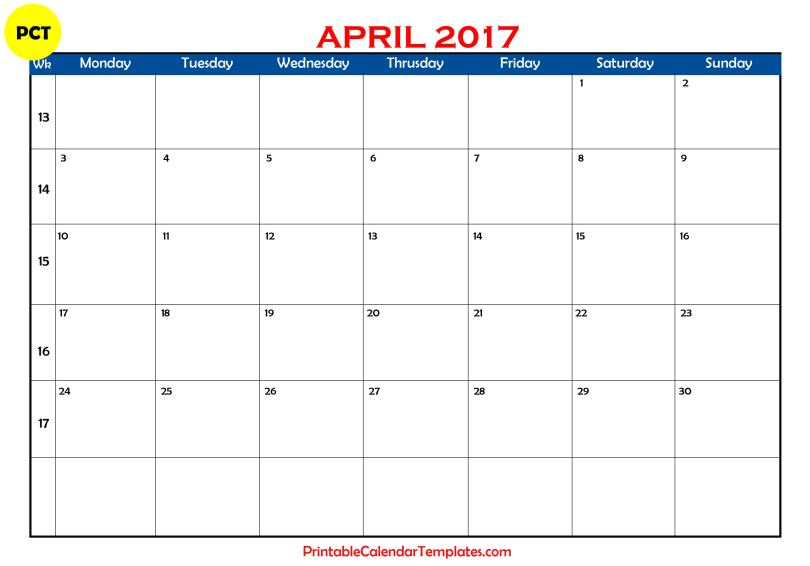 Printable calendar for april 2017