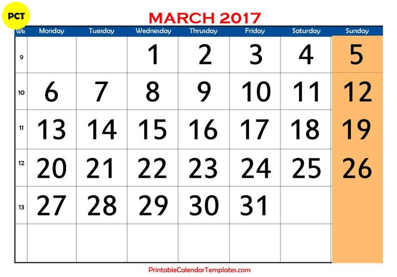 Free March 2017 Printable calendar