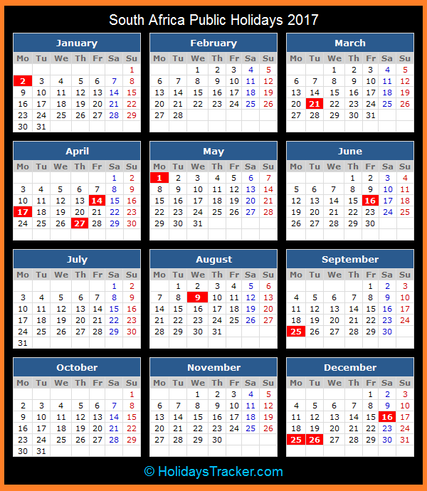 2017 Calendar South Africa Holidays, 2017 South African Calendar, South African National Holidays, South Africa Holiday List