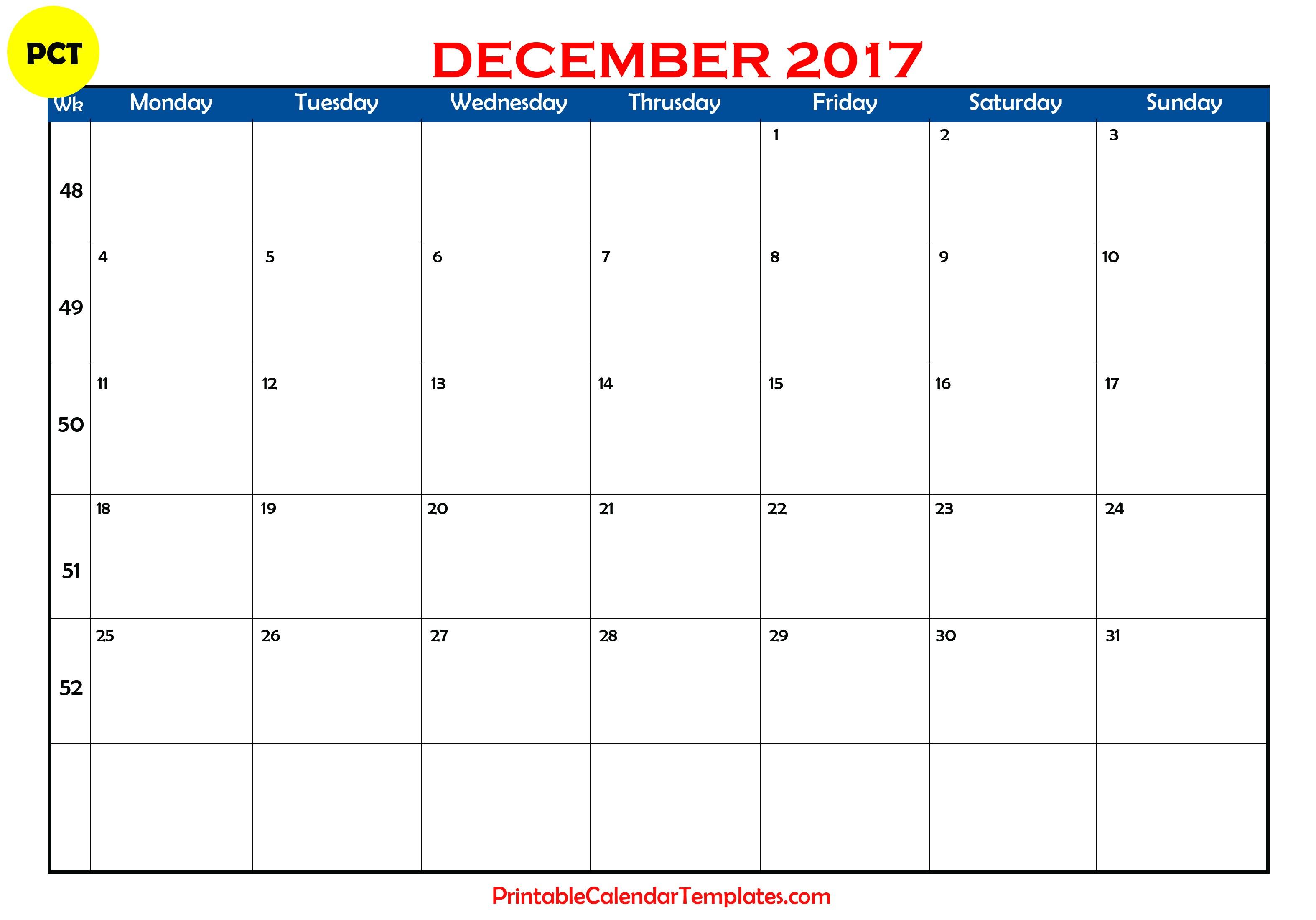 December 2017 Calendar Printable Printable Calendar Templates