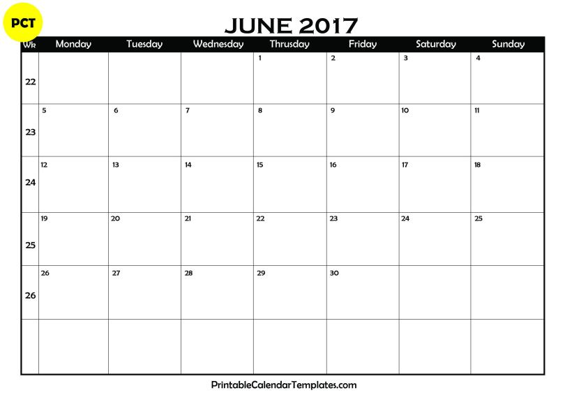 june 2017 Blank Calendar