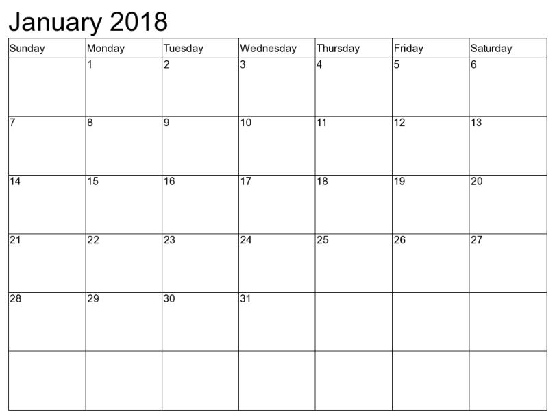 january-2018-calendar, January 2018 Calendar Printable