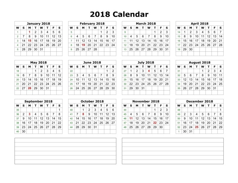yearly-2018-calendar-notes-blank-landscape