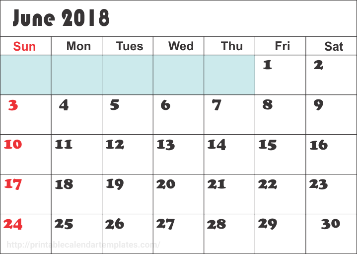 June 2018 Calendar Editable, June 2018 Calendar Template