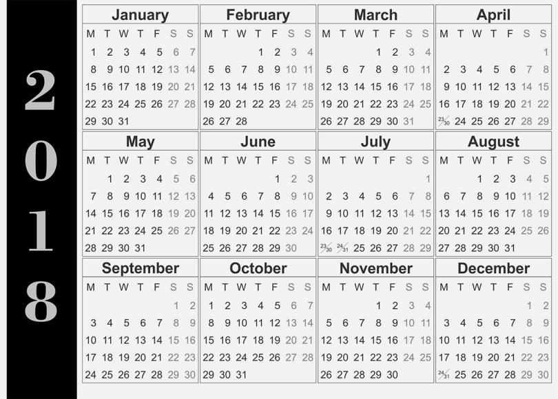 Wall-calendar-2018, 2018 Wall Calendar Design