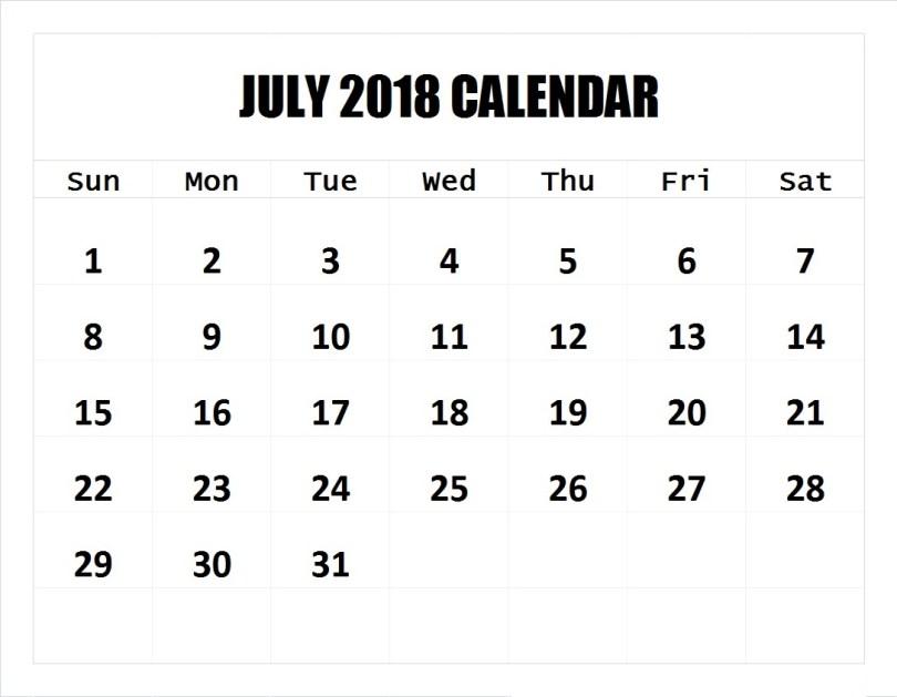 July 2018 Calendar, July 2018 Printable Calendar
