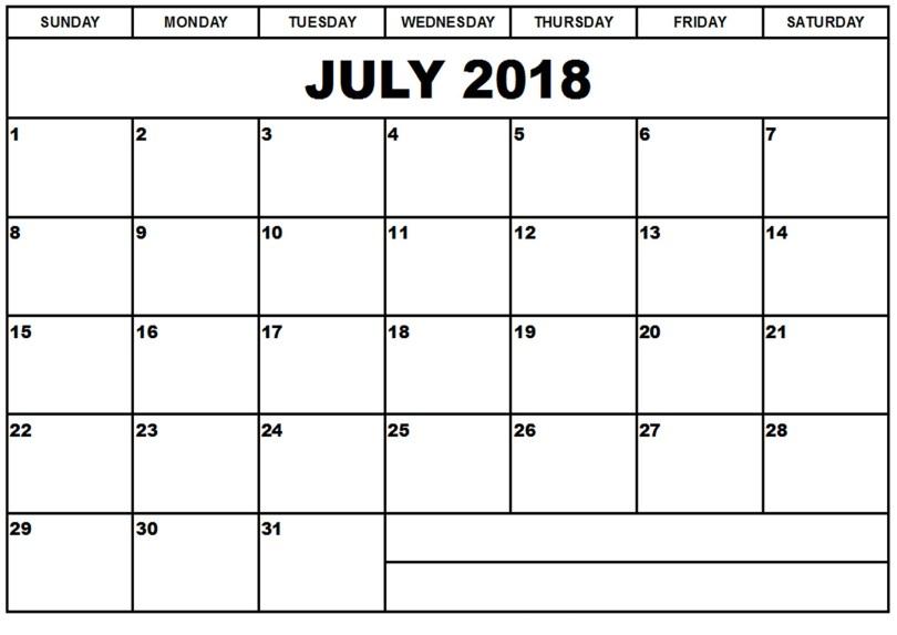 july-2018-printable-calendar, July 2018 Blank Calendar