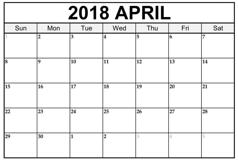 April 2018 Printable Calendar, April 2018 Calendar